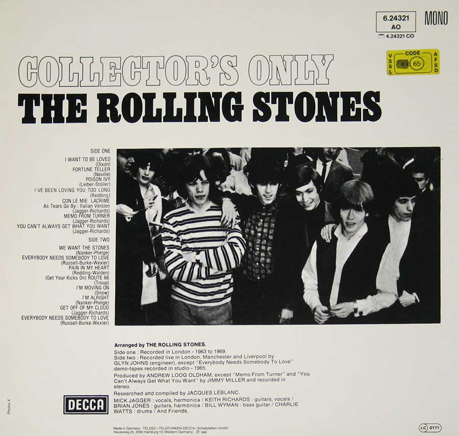 Photo of album back cover ROLLING STONES - Collector's Only