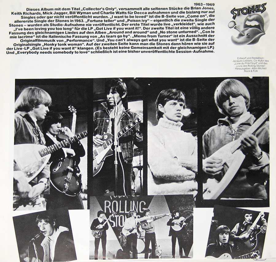 Photo One Of The Original Custom Inner Sleeve ROLLING STONES - Collector's Only