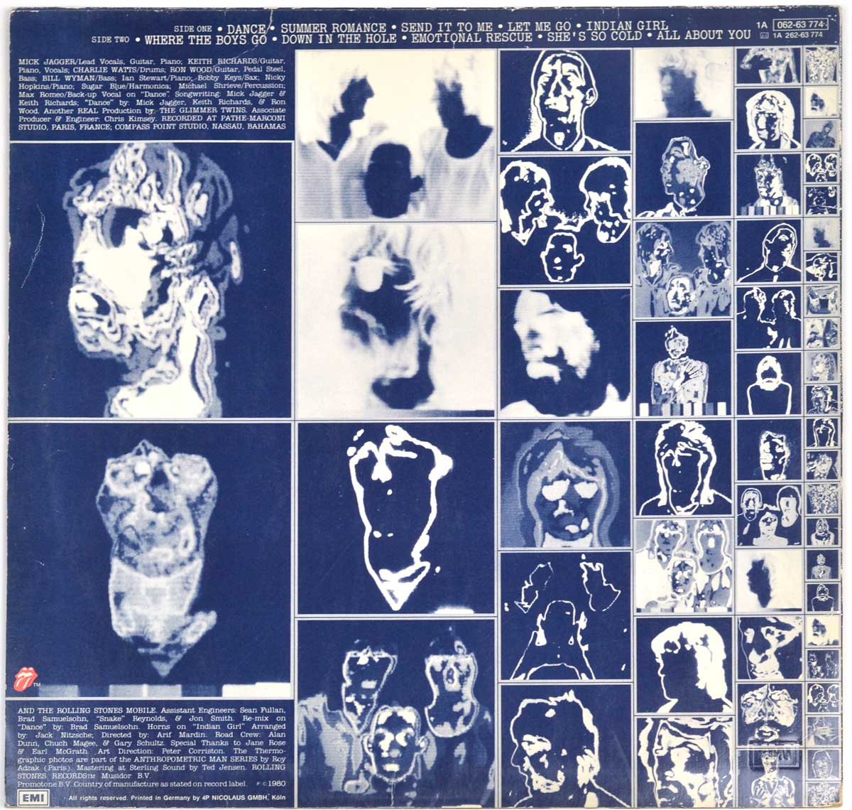 "Album Back Cover  Photo of ""ROLLING STONES - Emotional Rescue"""