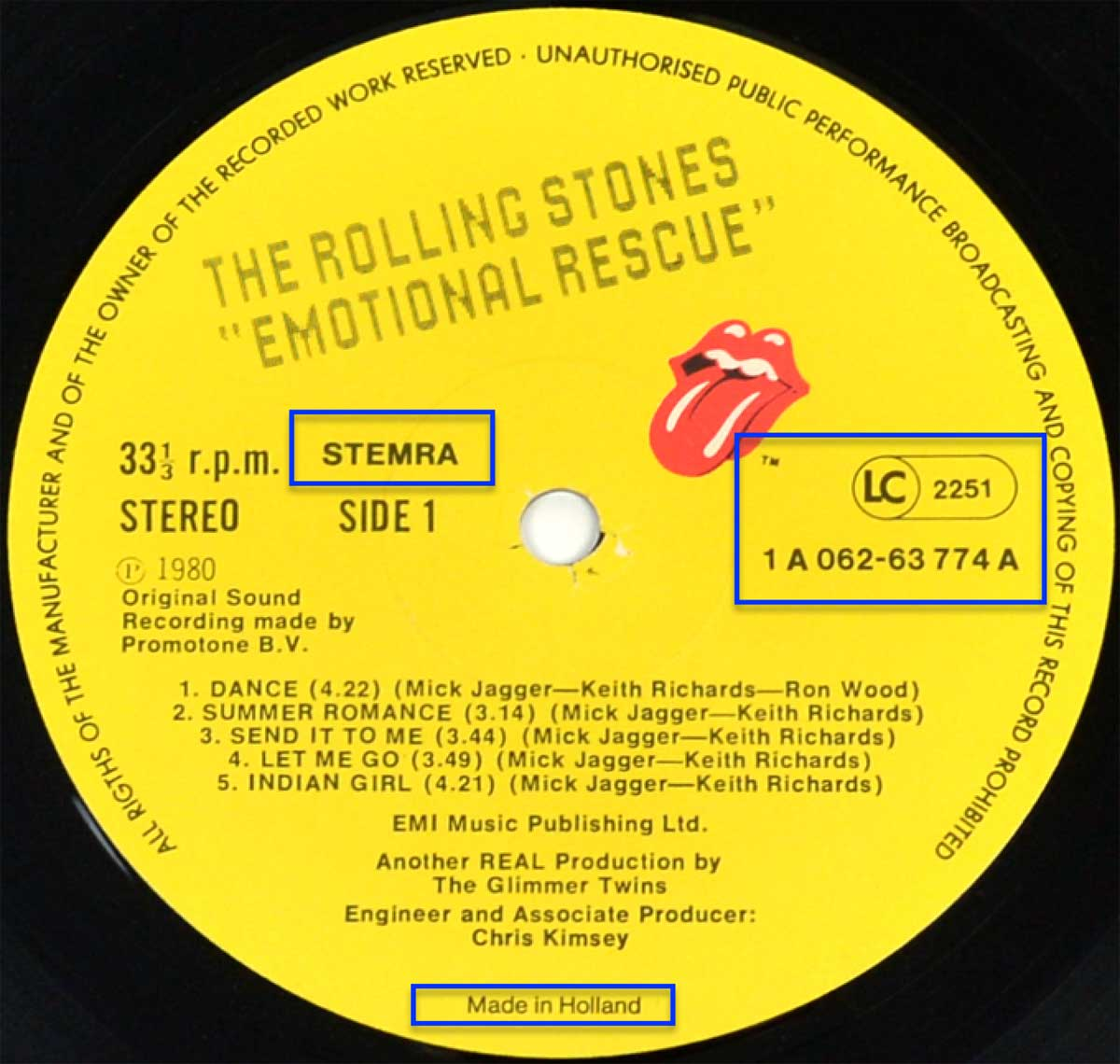 "Enlarged & Zoomed photo of ""ROLLING STONES - Emotional Rescue"" Record's Label"