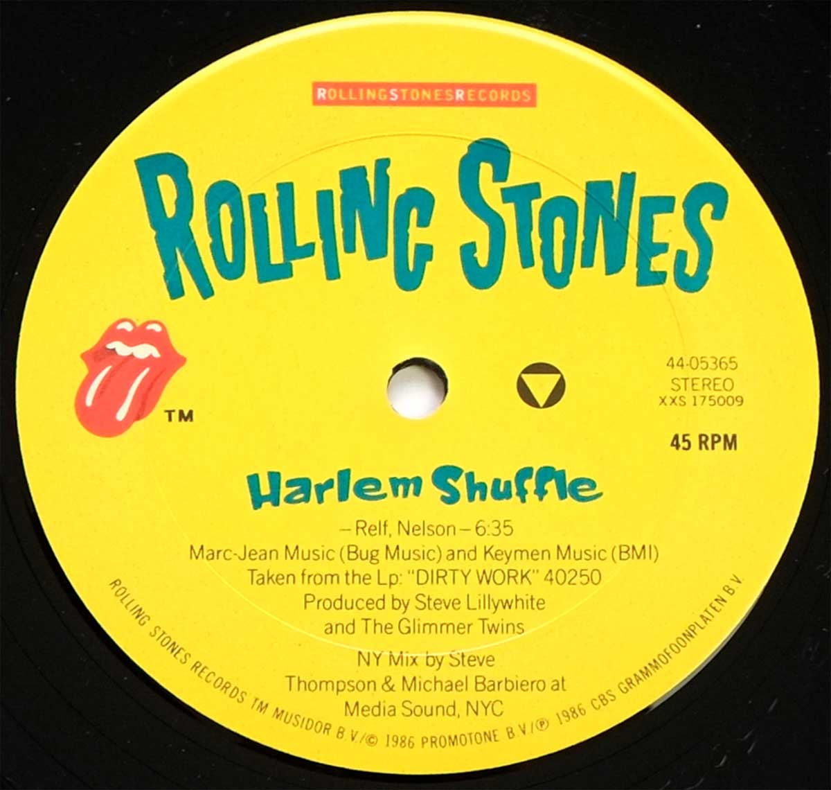 "Close-up Photo of ""ROLLING STONES HARLEM SHUFFLE"" Record Label"