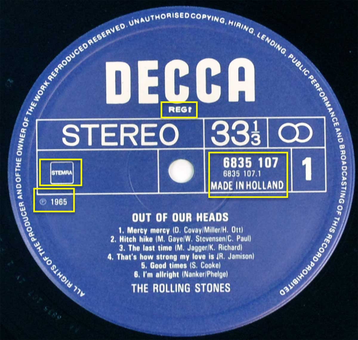"Photo of ""THE ROLLING STONES – Out Of Our Heads"" Decca Record Label"