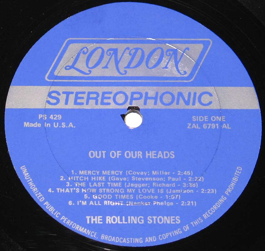 Close up of record's label Rolling Stones - Out of Our Heads London PS 429 Side One
