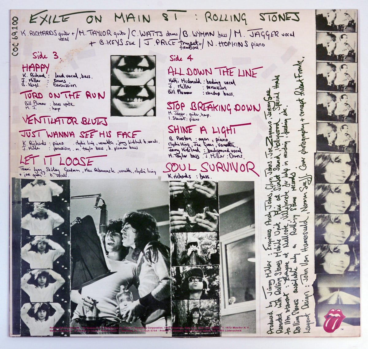 Photo of inner sleeve ROLLING STONES Exile on Main Street