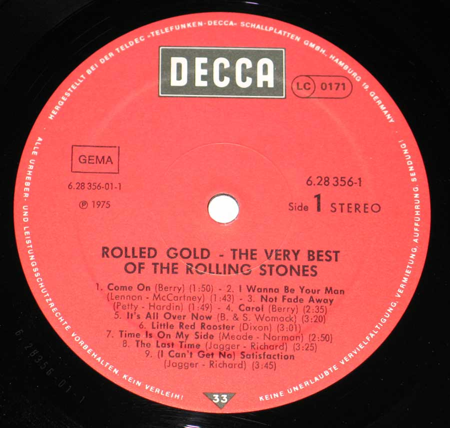 Close up of record's label ROLLING STONES Rolled Gold, Very Best of Rolling Stones, 2LP Side One