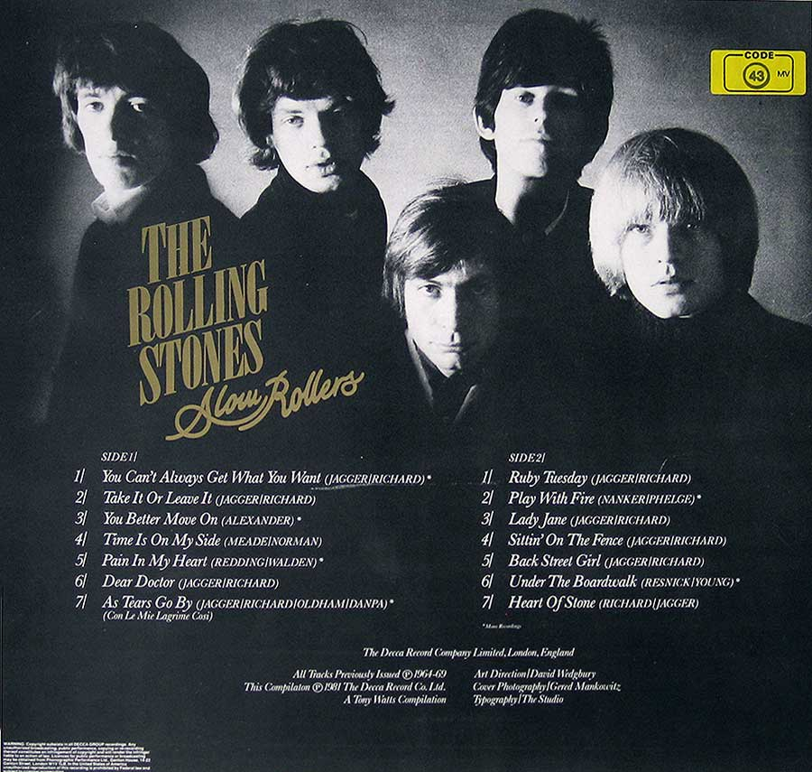 Photo of album back cover ROLLING STONES - Slow Rollers