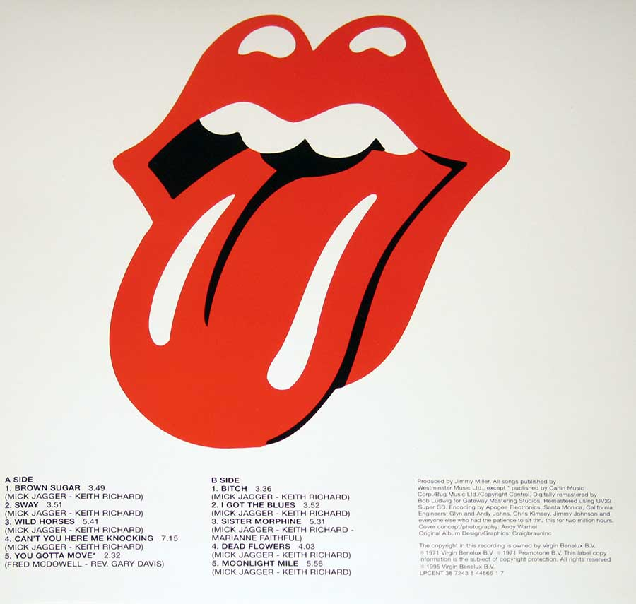 Photo One Of The Original Custom Inner Sleeve ROLLING STONES - Sticky Fingers UK