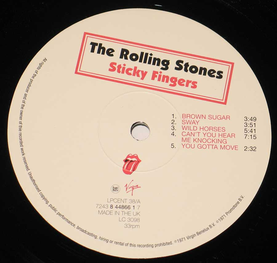 Close up of record's label ROLLING STONES - Sticky Fingers UK Side One