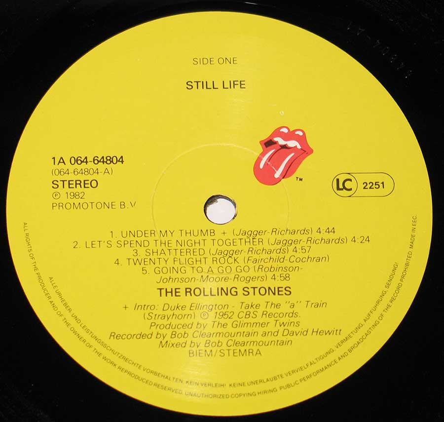 Close up of record's label ROLLING STONES - Still Life American Concert Side One