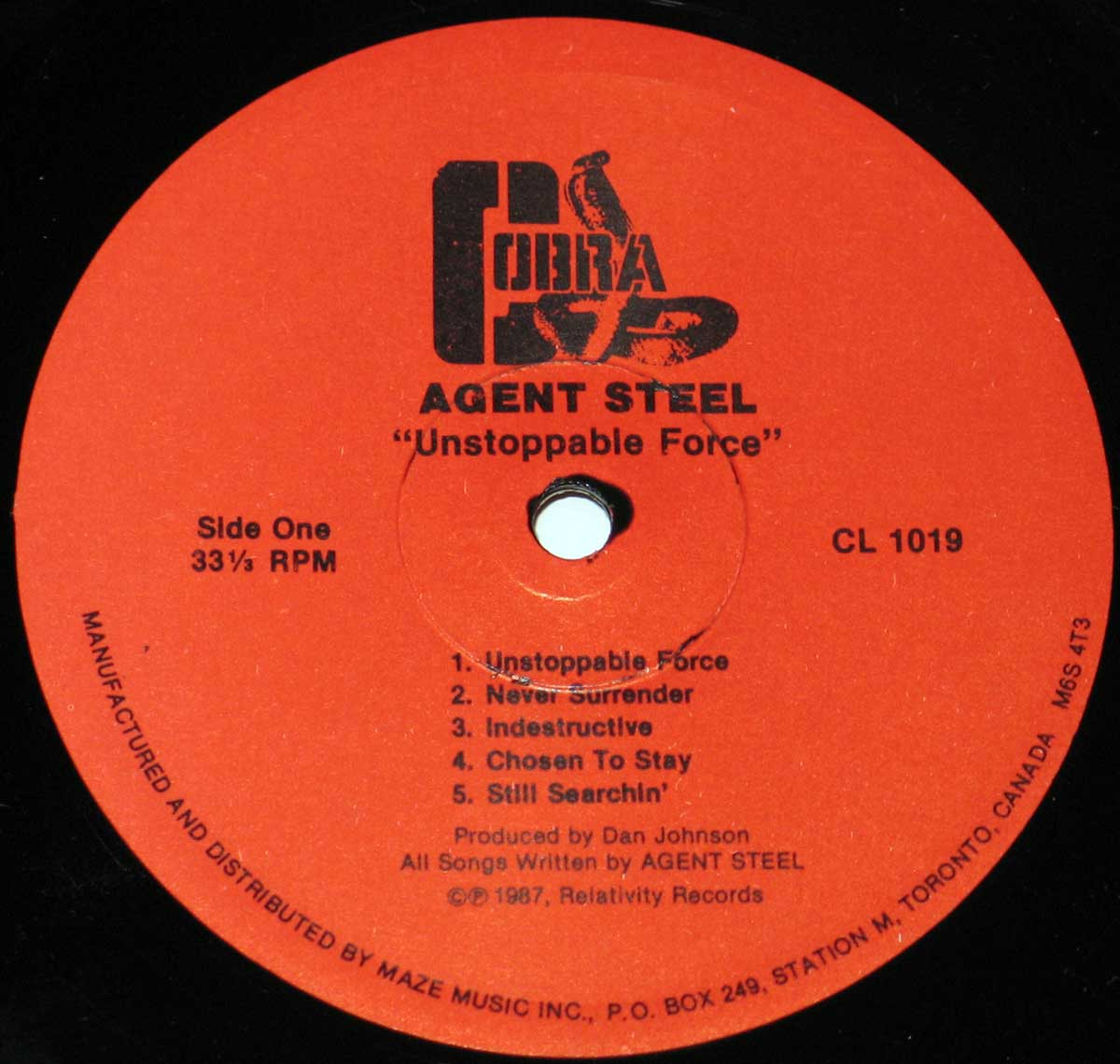 Front Cover Photo Of AGENT STEEL - Unstoppable Force ( Canadian Release )