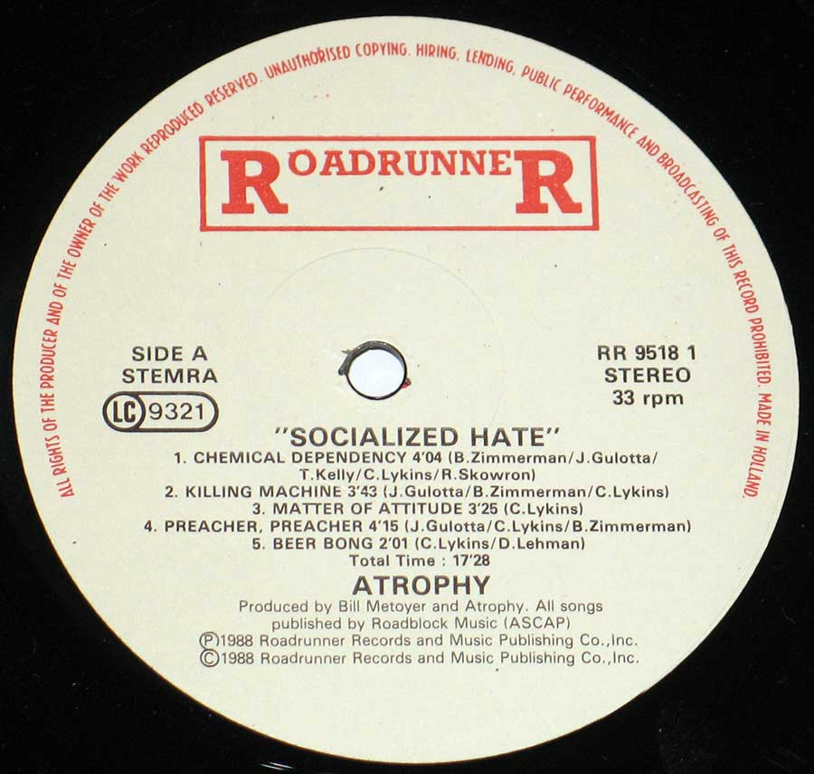 High Resolution Photo of the enlarged label ATrophy - Socialized Hate https://vinyl-records.nl