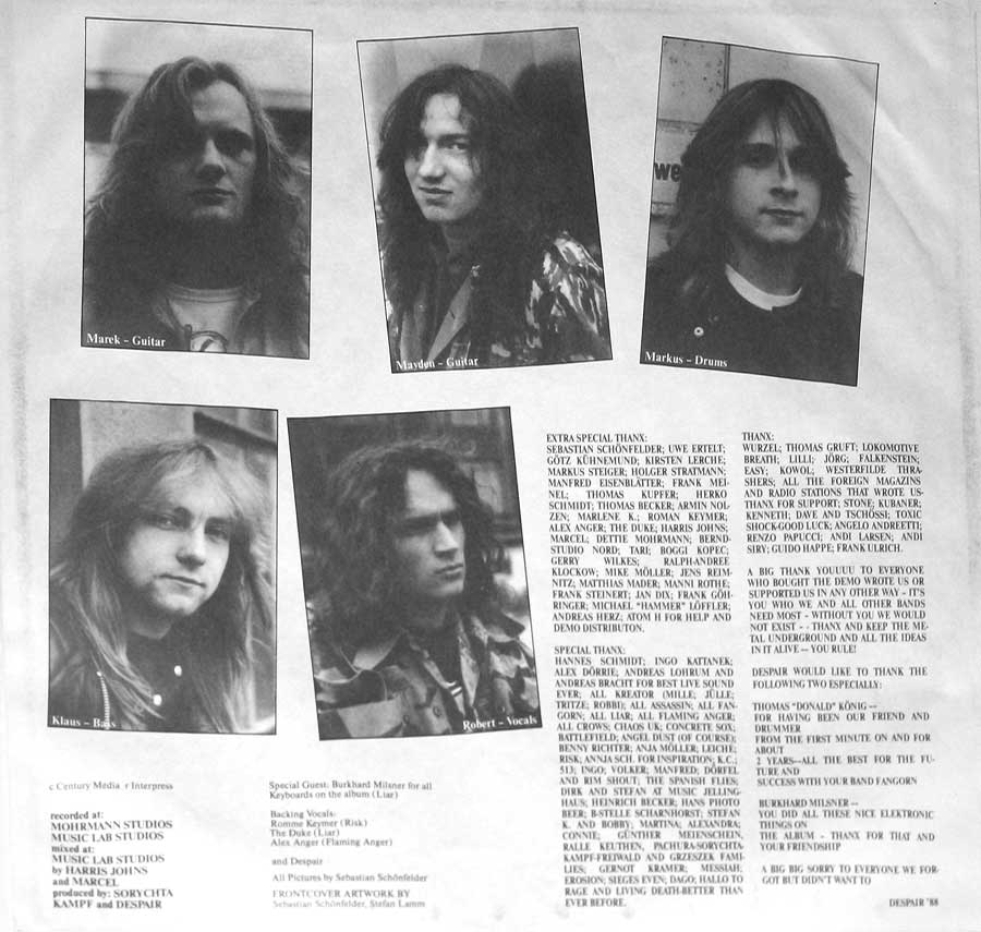 Photo Two of the original custom inner sleeve  Despair - History of Hate