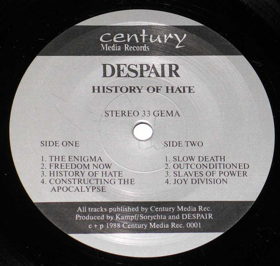 Close up of Side One Despair - History of Hate