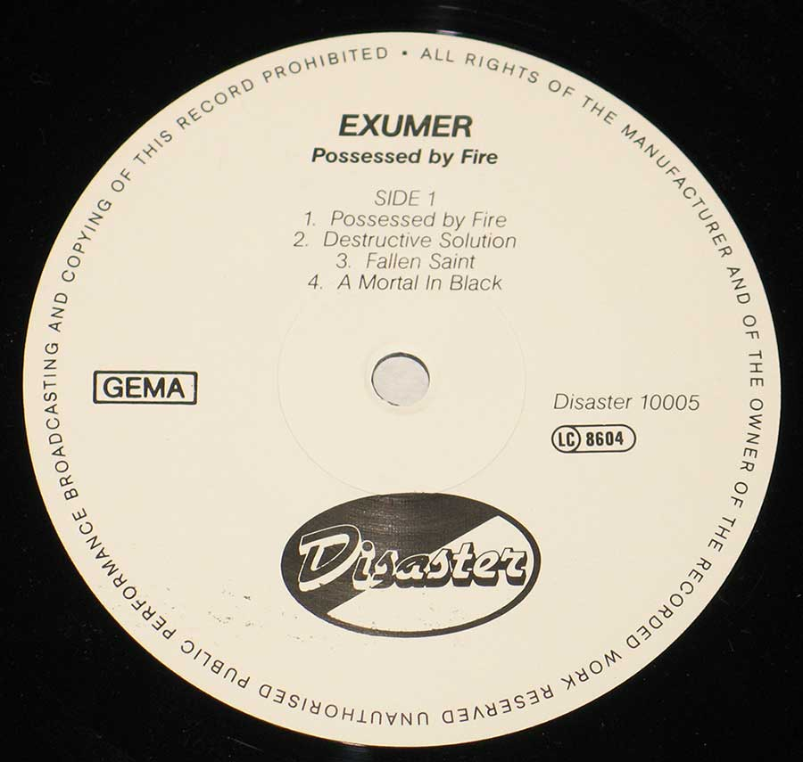 Close up of Side One EXUMER - Possessed By Fire