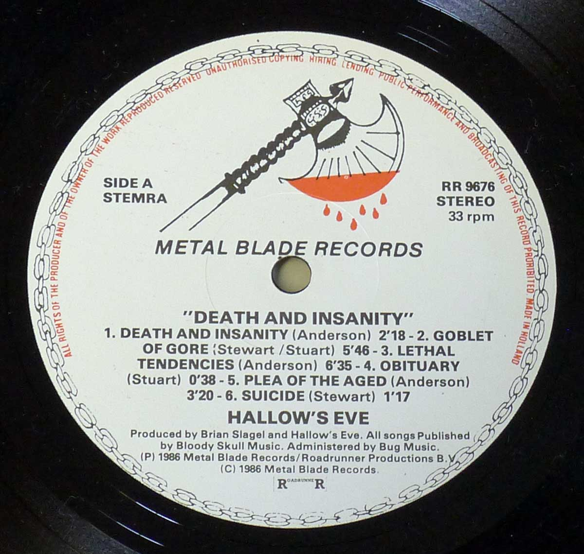 Enlarged High Resolution Photo of the Record's label Hallow's Eve - Death & Insanity https://vinyl-records.nl