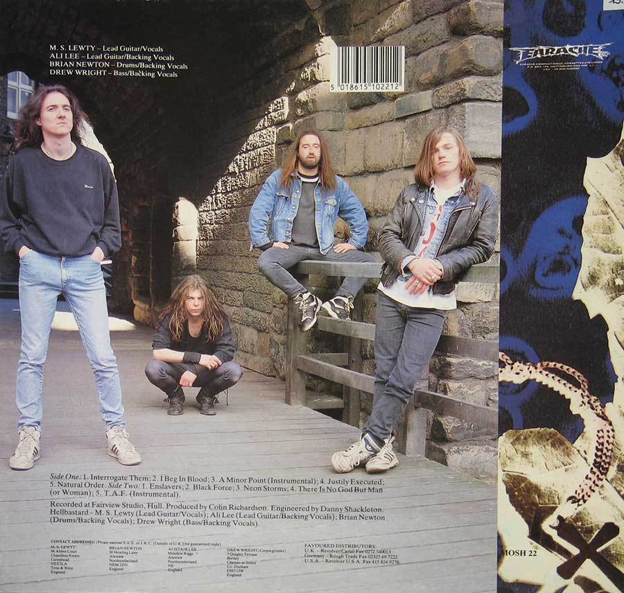 "Photo of album back cover HELLBASTARD - NATURAL ORDER 12"" VINYL LP ALBUM"