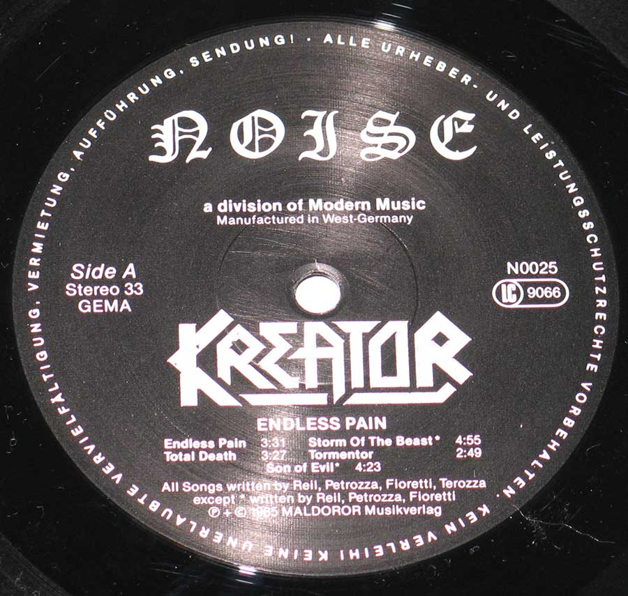 "Close up of record's label KREATOR - Endless Pain ( Thrash Metal, Germany ) 12"" Vinyl LP Album  Side One"