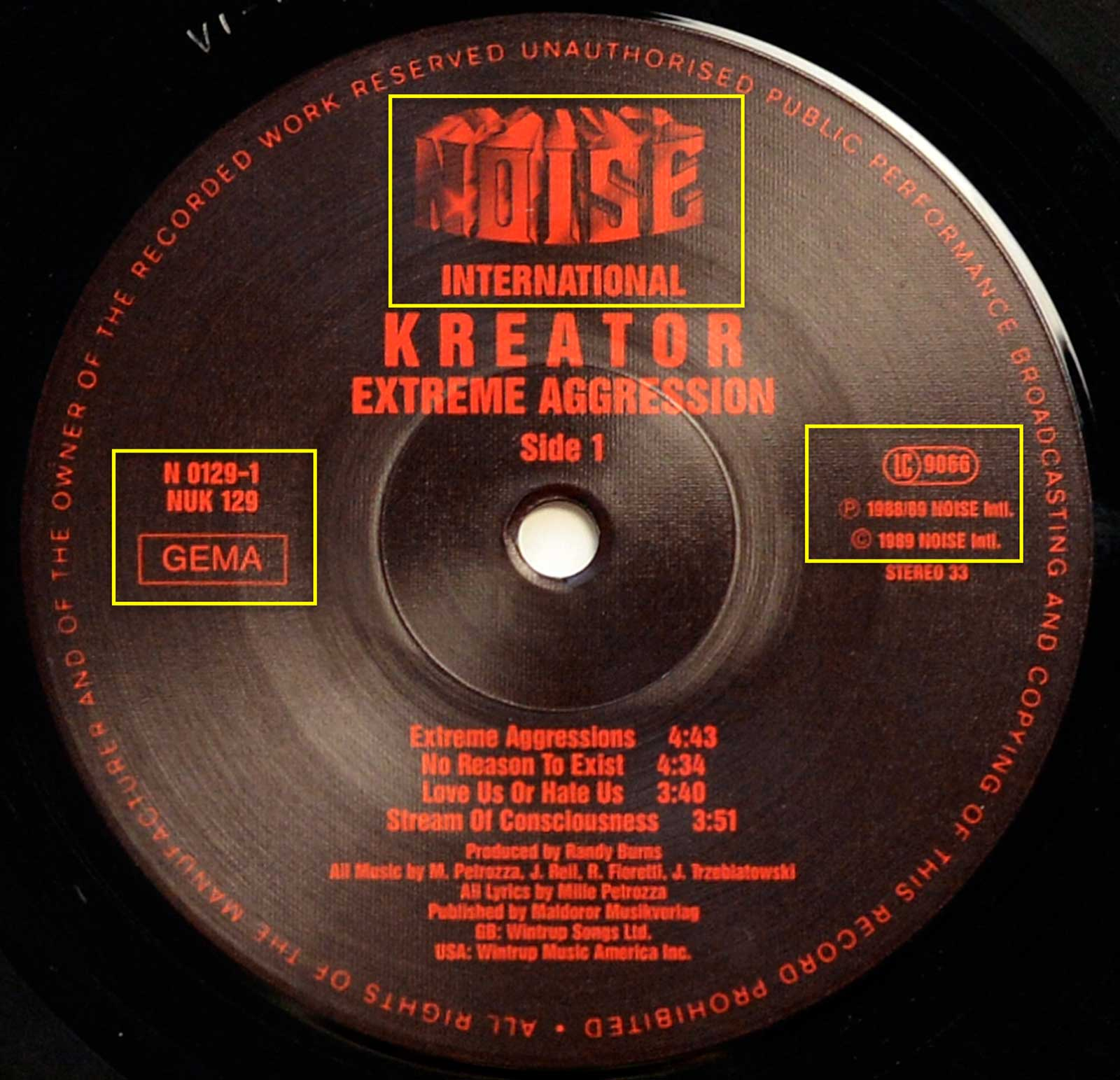 Photo of record label of KREATOR - Extreme Aggression