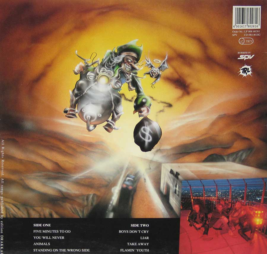 "LIAR - Cheatin' Games 12"" VINYL LP ALBUM back cover"