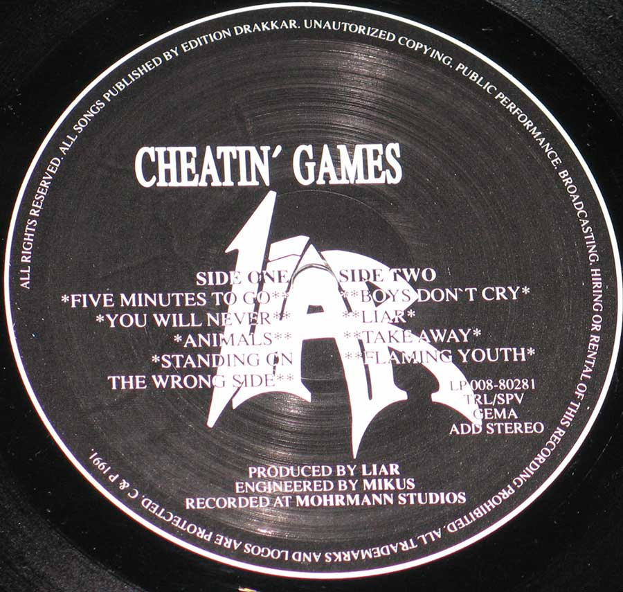 "Side Two Close up of record's label LIAR - Cheatin' Games 12"" VINYL LP ALBUM"