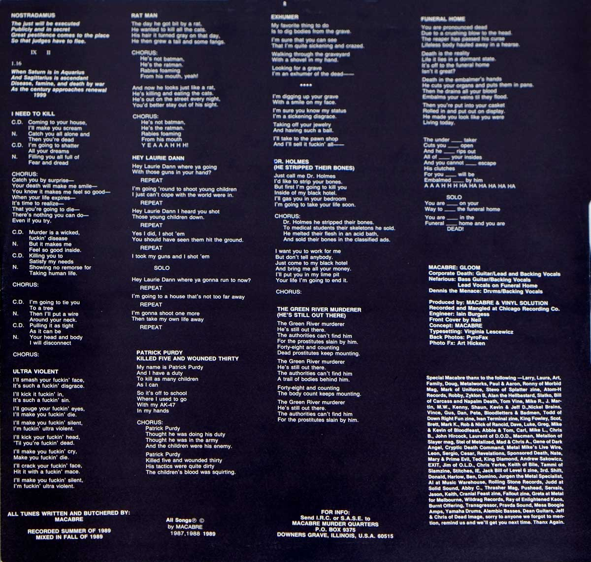 Lyrics printed on the custom inner sleeve of Macabre's Gloom