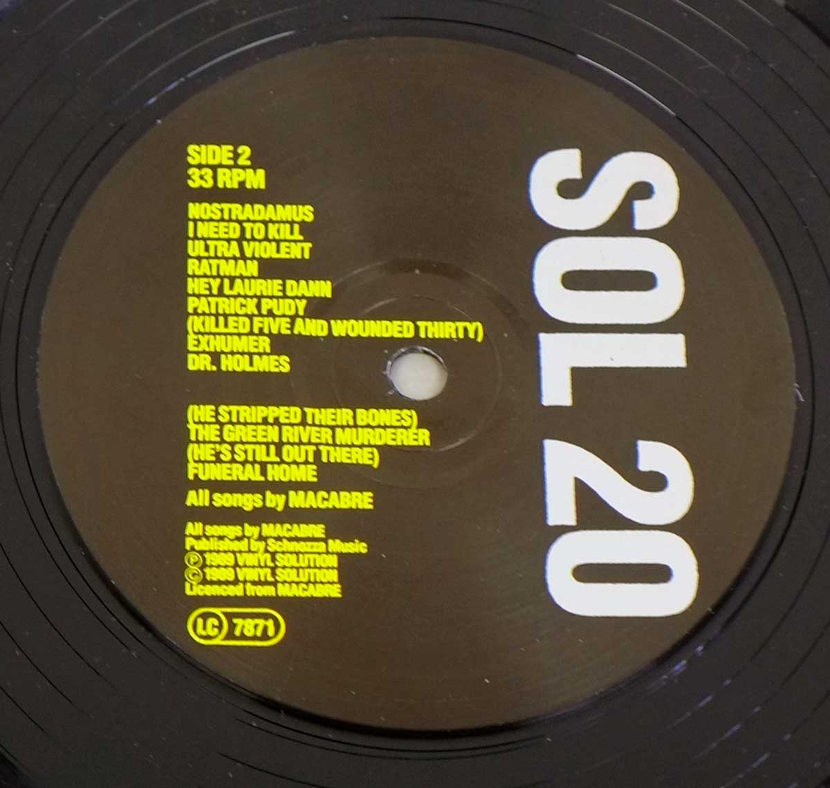 "Close-up photo of the Black ""Vinyl Solution"" SOL 20 Record Label"