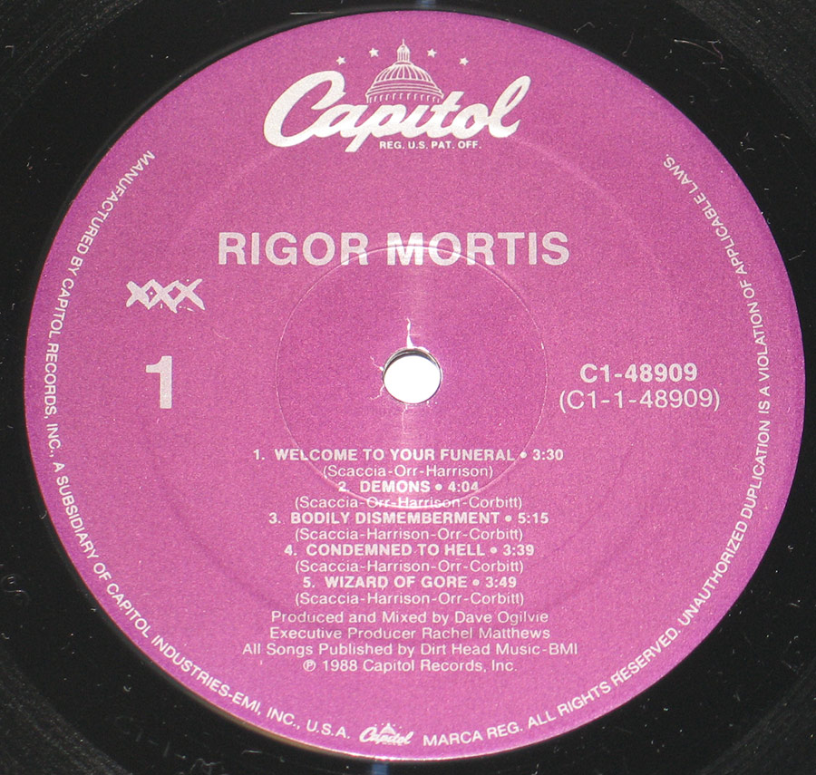 """Rigor Mortis"" Record Label Details: xxx/ Capitol C1-48909 ℗ 1988 Capitol Records Inc Sound Copyright"