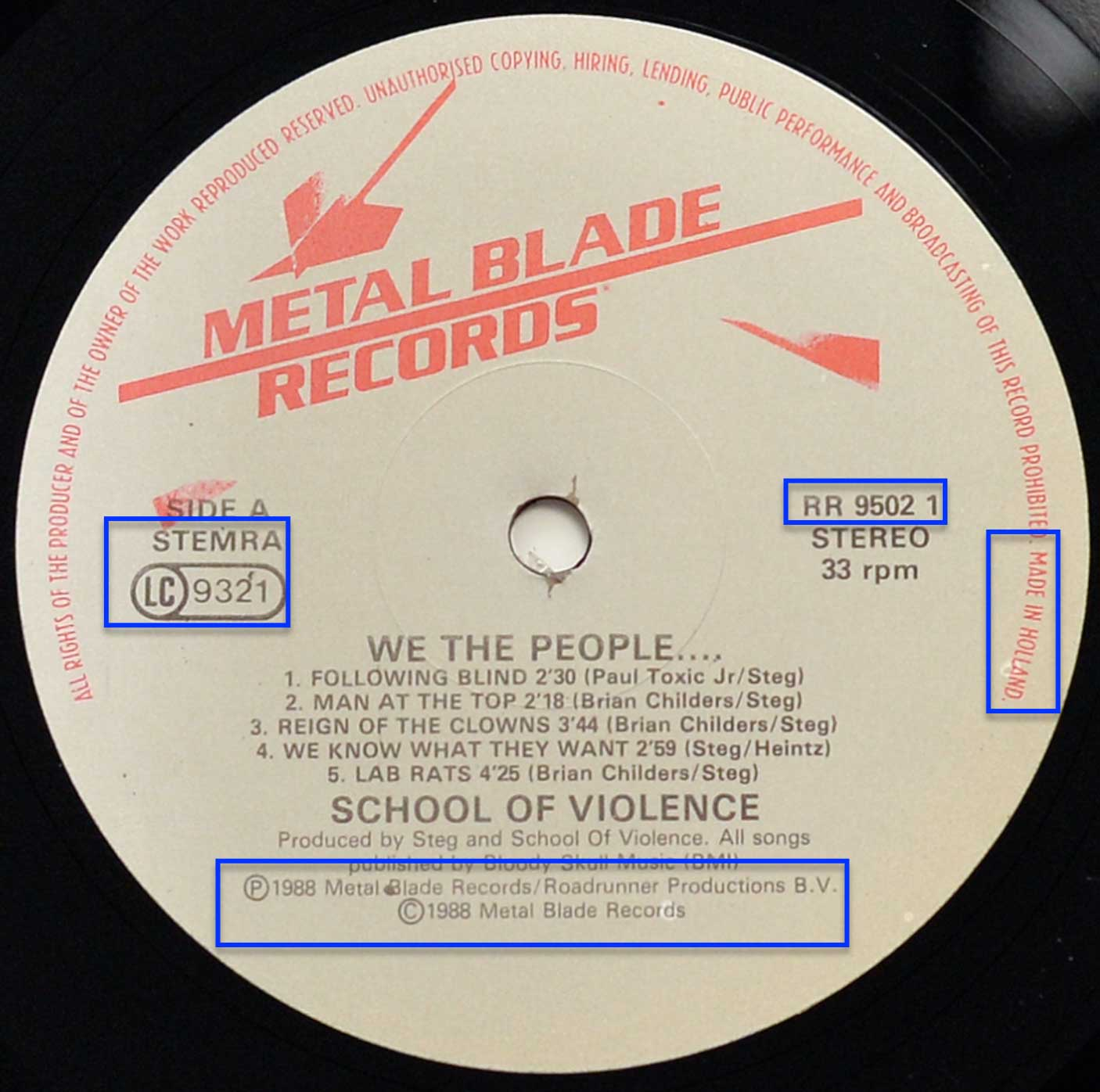 Photo of record label of SCHOOL OF VIOLENCE – We The People...?
