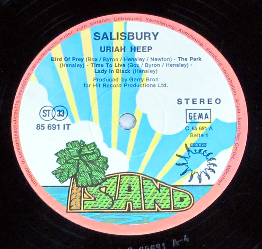 Close up of record's label URIAH HEEP - Salisbury Side One
