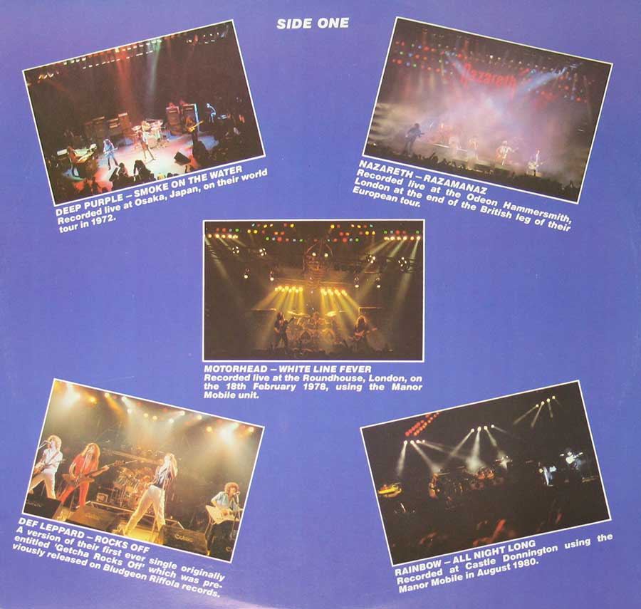 "Photo One Of The Original Custom Inner Sleeve VARIOUS ARTISTS - Live and Heavy 12"" Vinyl LP Album"