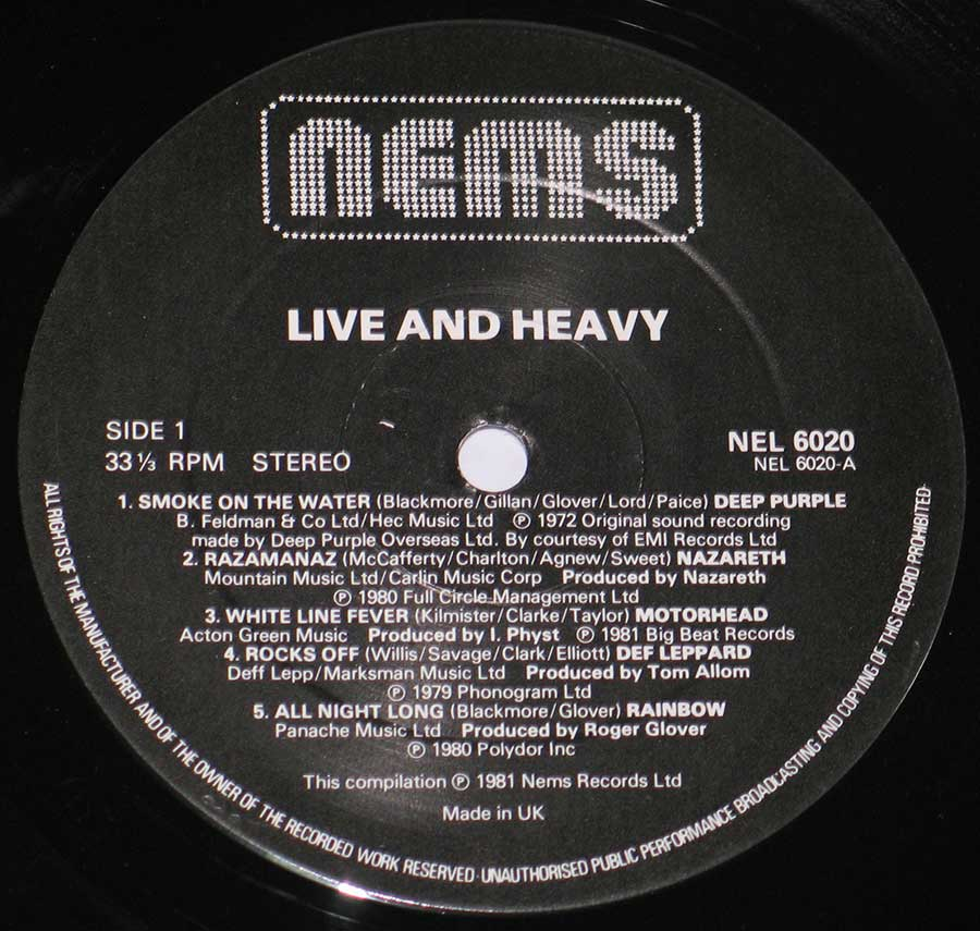 "Close up of record's label VARIOUS ARTISTS - Live and Heavy 12"" Vinyl LP Album Side One"