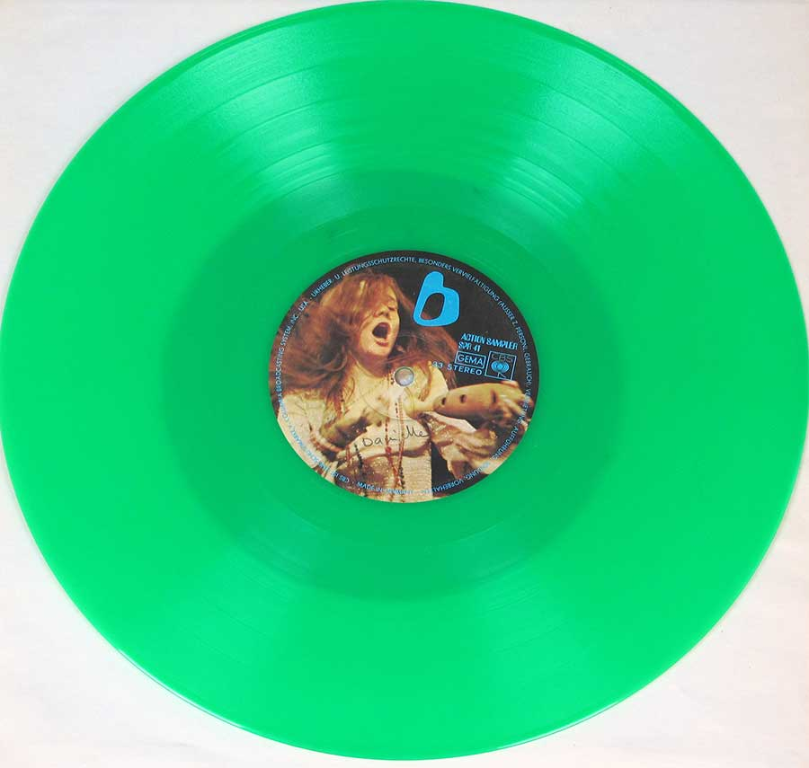 "High Quality Photo of record Side 2 of   ""ACTION SAMPLER JANIS JOPLIN CBS Green Vinyl"""
