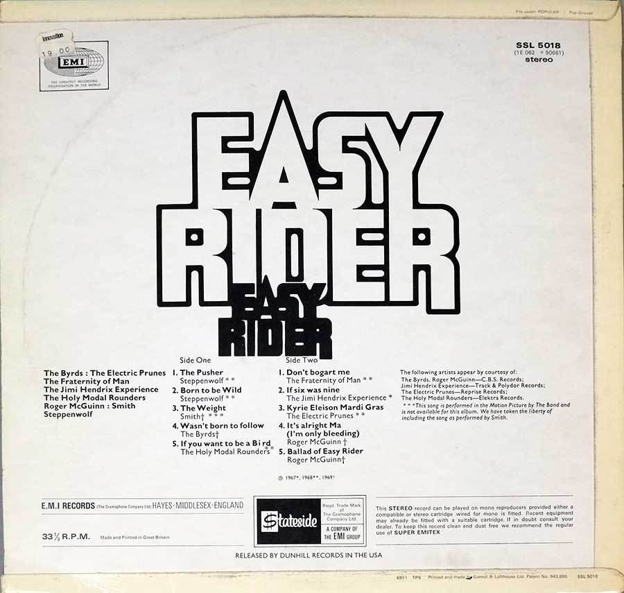 Photo of album back cover VARIOUS ARTISTS - Easy Ride ( OST )