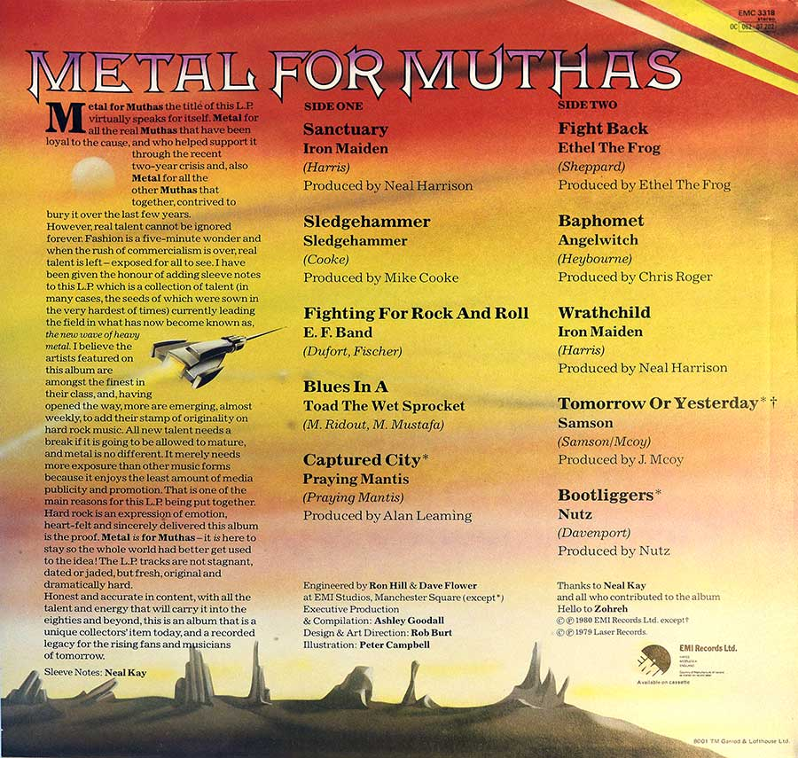 "Photo of album back cover VARIOUS ARTISTS - Metal for Muthas Iron Maiden NWOBHM 12"" LP ALBUM VINYL"