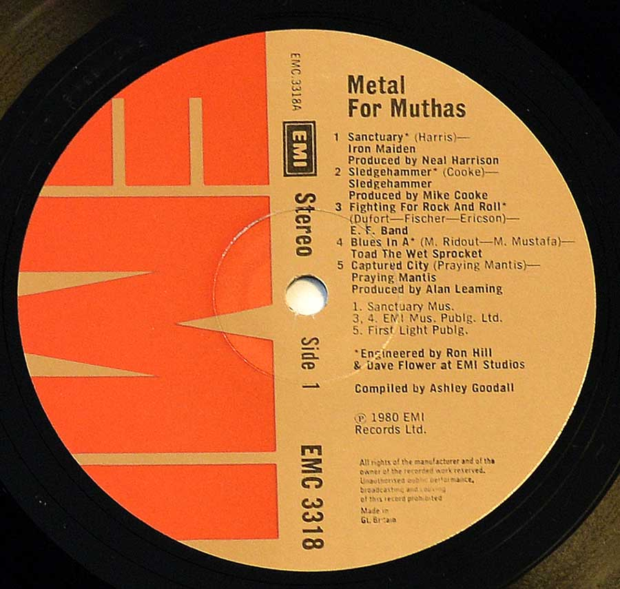 "Close up of record's label VARIOUS ARTISTS - Metal for Muthas Iron Maiden NWOBHM 12"" LP ALBUM VINYL Side One"