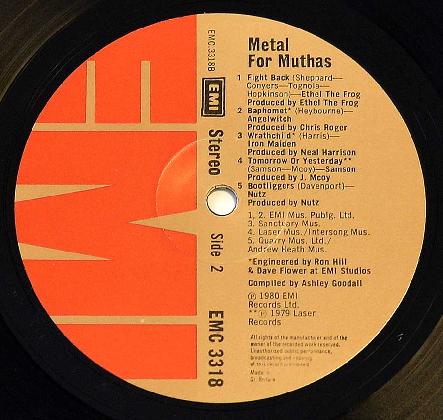 "Close up of record's label VARIOUS ARTISTS - Metal for Muthas Iron Maiden NWOBHM 12"" LP ALBUM VINYL Side Two"
