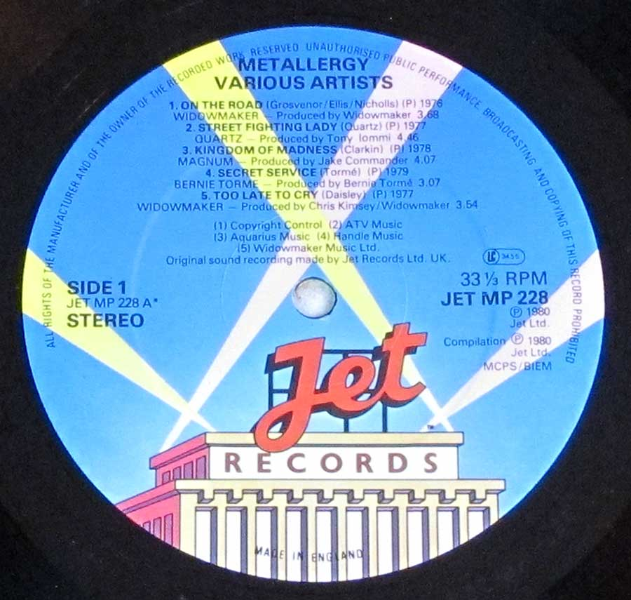 """Metallergy"" Record Label Details: JET Records JET MP 228 ℗ 1980 JET Ltd Sound Copyright"