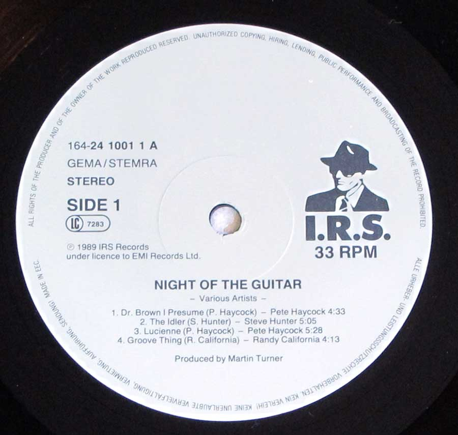 Close up of record's label NIGHT OF THE GUITAR 2LP Side One