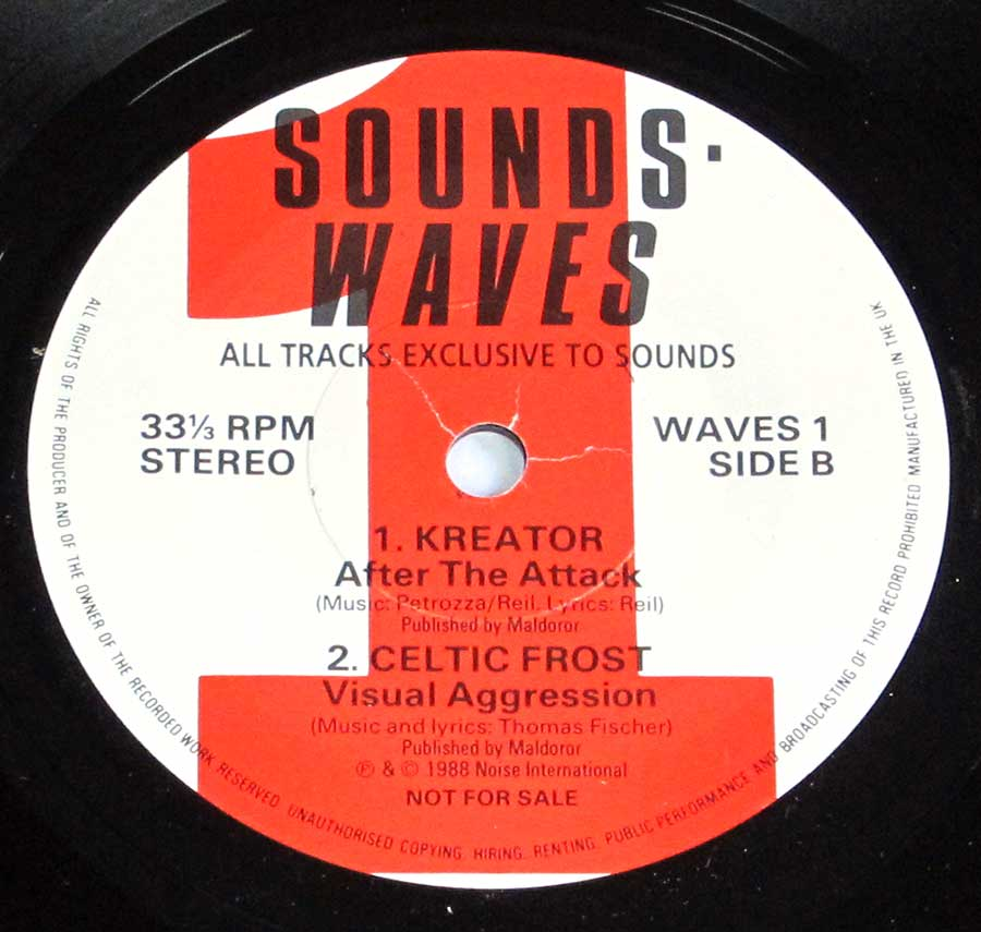 "Side Two Close up of record's label SOUNDS WAVES 1 Motherhead / Stupids / Kreator / Celtic Frost 7"" Promo EP 33RPM PS VINYL"